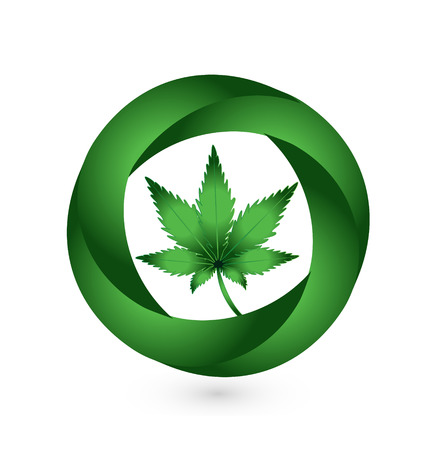marihuana: Cannabis leaf in circle swooshes vector icon design Illustration