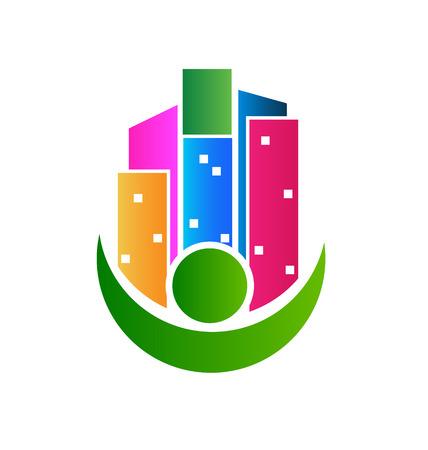 Gebouwen makelaar card business pictogram vector