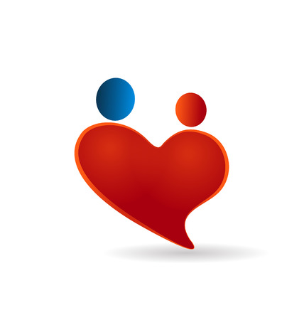 together voluntary: Heart couples love symbol and care vector icon