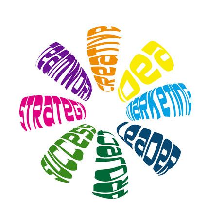 meaning: El trabajo en equipo significa en un icono de vector de forma de flor