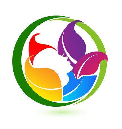 d�tente: Femme � la relaxation avec des feuilles color�es ic�ne vecteur