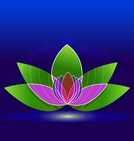Lotus flower on water icon design background Vector