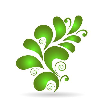 Vector green floral design decoration element Vettoriali
