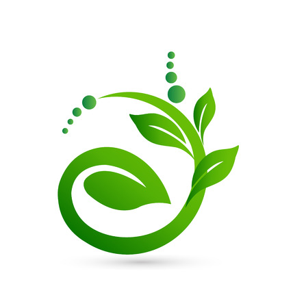 Healthy meaning in a plant shape drawing icon Vettoriali
