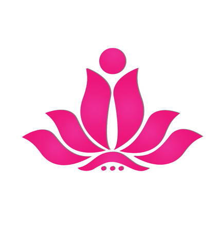 Pink stylized lotus flower icon logo design Vector