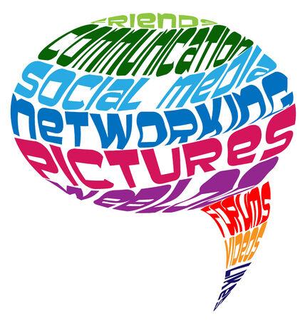 meaning: Medios de comunicaci�n social que significa en un icono de vector forma de la nube