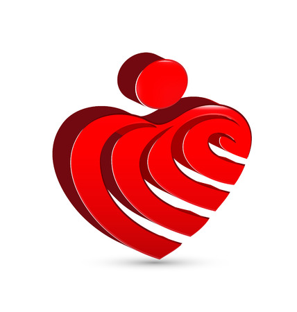 together voluntary: Abstract heart figure icon vector design Illustration