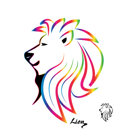 lion tail: Stylized colorful lion head silhouette logo vector icon