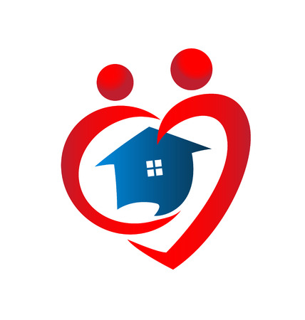 Heart figures with house icon design Vector