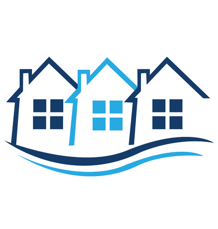 Blue houses for real estate identity card icon