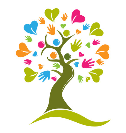 identity protection: Tree hands and hearts figures icon vector Illustration