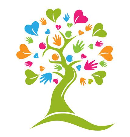 Mãos e corações figura a árvore logotipo do ícone do vetor