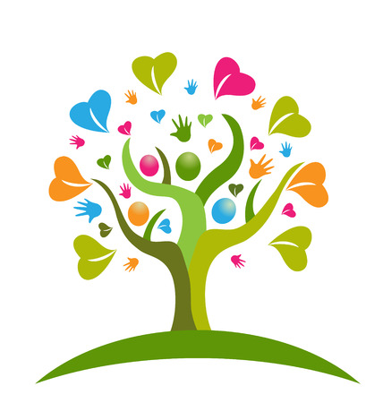 Tree hands and hearts figures icon vector Çizim