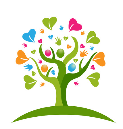 Tree hands and hearts figures icon vector Vettoriali