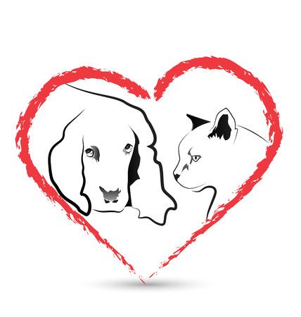 wścieklizna: Wektor pies i kot w weterynarii ikonę karty biznesowej kształcie serca Ilustracja
