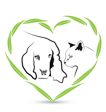 Vector Dog and Cat friendship veterinary icon design Vector