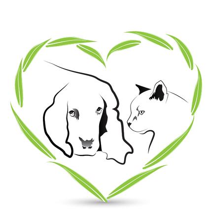 Vector Dog and Cat friendship veterinary icon design Ilustração