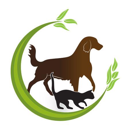 Gato y perro icono de la tarjeta de identidad de diseño de tarjetas veterinaria