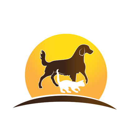 Cat ,dog and sun icon veterinary card design