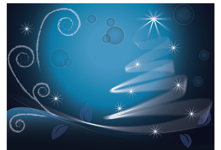 Blue Christmas Tree image vector background Illustration