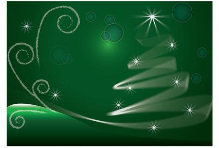 célébration: Green Tree Noël vecteur image de fond Illustration
