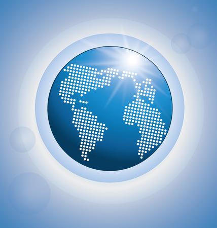 青い光沢のあるデジタル世界地図のベクトルの背景
