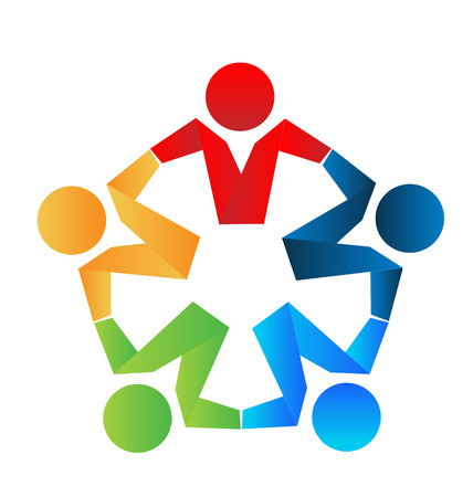 Business partners teamwork hugging icon concept Vector