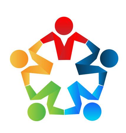 Los socios comerciales de trabajo en equipo que abraza el concepto de icono Foto de archivo - 32080615