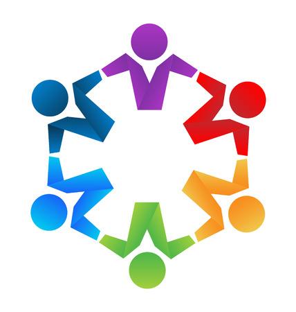 Business partners teamwork hugging icon concept Illustration