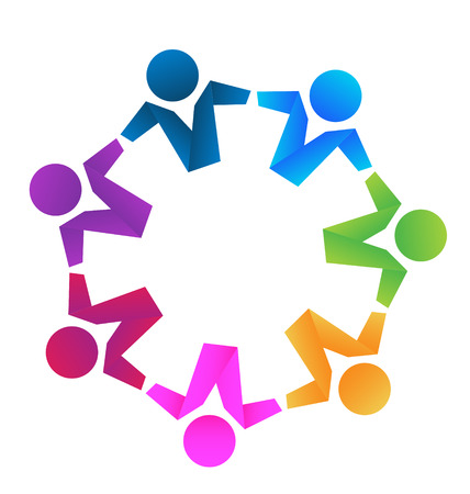 Business partners teamwork hugging icon concept