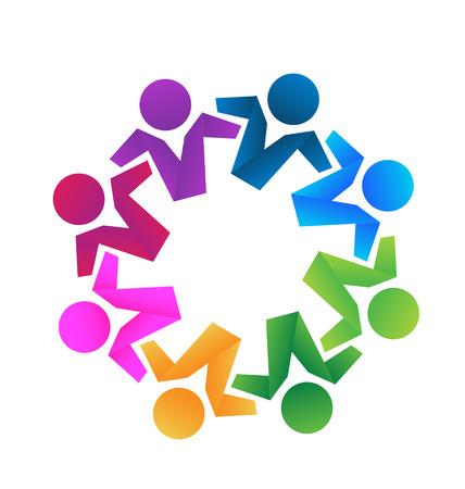 Business partners teamwork hugging icon concept 일러스트