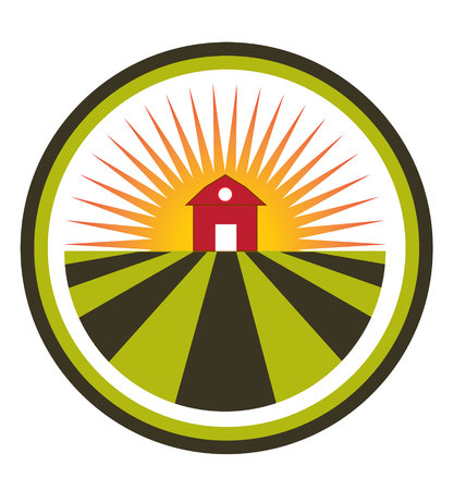 Sun agriculture landscape and farm harvest label icon  Vector