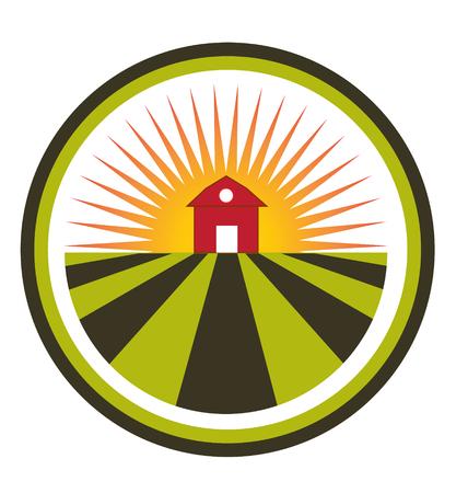 fertility emblem: Sun agriculture landscape and farm harvest label icon  Illustration