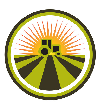 Sunset tractor and field icon design Vector