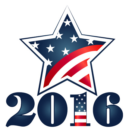Election 2016 with USA Flag illustration. Star icon symbol\ design