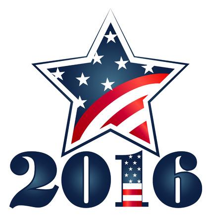 senate: Election 2016 with USA Flag illustration. Star icon symbol design Illustration