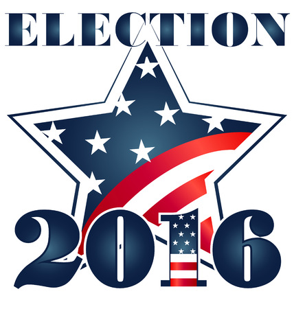 gov: Election 2016 with USA Flag illustration. Vector icon symbol design Illustration