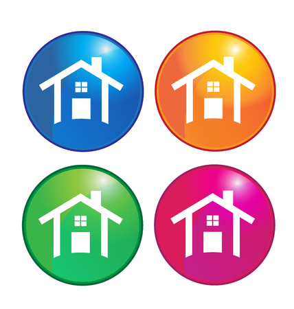 Houses icons colorful buttons Vector