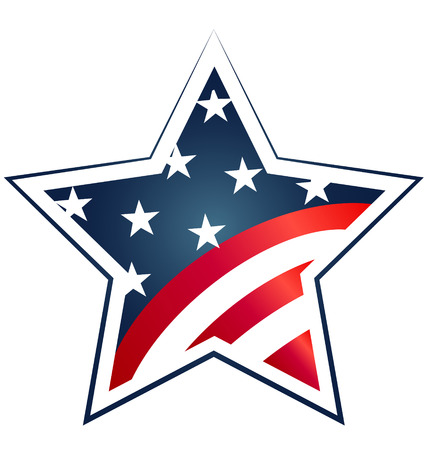 Star USA Flag illustration. Icon symbol design Vector