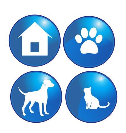 wścieklizna: Zestaw zwierzęta kotów i psów elementów przycisku symbole Ilustracja