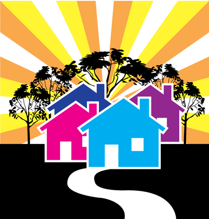 foreclosure: Houses illustration for Real Estate card business