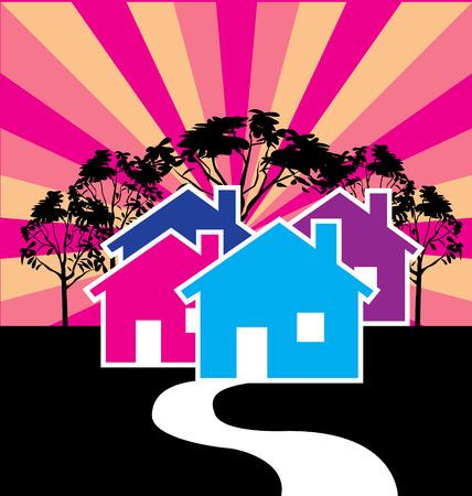 townhouses: Casas ilustraci�n de negocio de tarjetas de Bienes Ra�ces Vectores