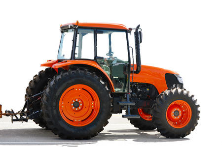 agronomist: Agriculture red tractor on white background Stock Photo