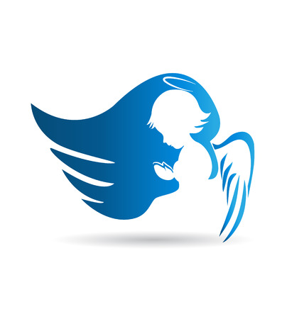 silueta de angel: Blue Angel fondo silueta Vectores