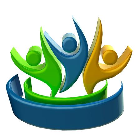 optimistic: Teamwork 3D happy and optimistic people icon
