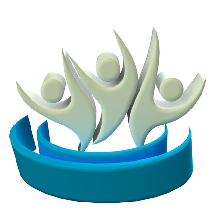 Teamwork 3D optimistic people icon photo