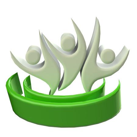 Teamwork 3D happy green people icon photo