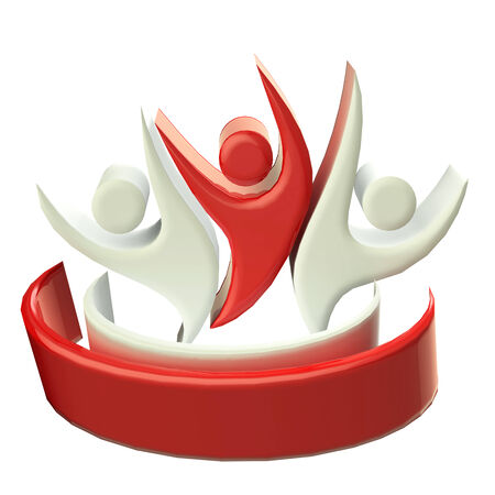 Teamwork 3D happy red people icon photo
