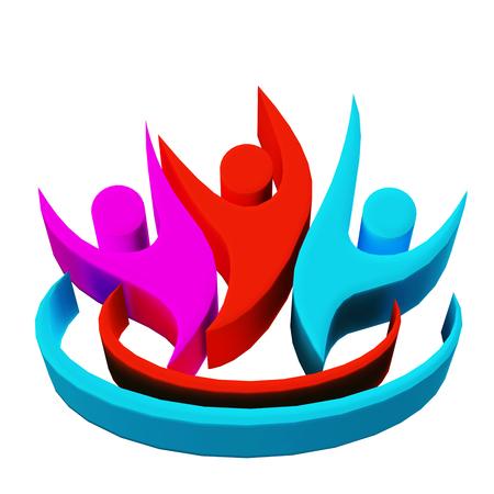 Teamwork 3D people icon photo
