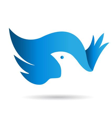 青い鳥平和記号アイコン id カード  イラスト・ベクター素材